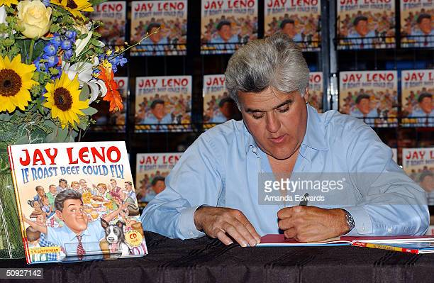 Comedian Jay Leno signs copies of his children's book 'If Roast Beef Could Fly' on June 4 2004 at Borders Books in Torrance California