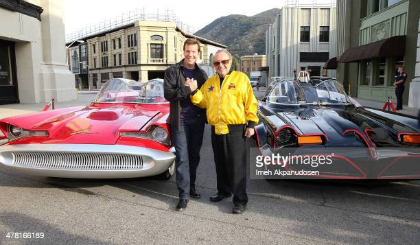 Comedian Jeff Dunham and designer George Barris attend the Warner Bros VIP Tour 'Meet The Family' Speaker Series at Warner Bros Tour Center on March...