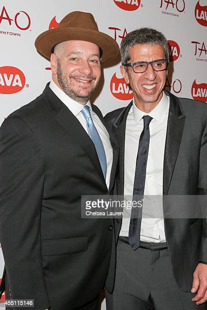Comedian Jeff Ross and CEO of LAVA Records Jason Flom attend the LAVA Records 13th anniversary party at TAO Downtown on September 9 2014 in New York...