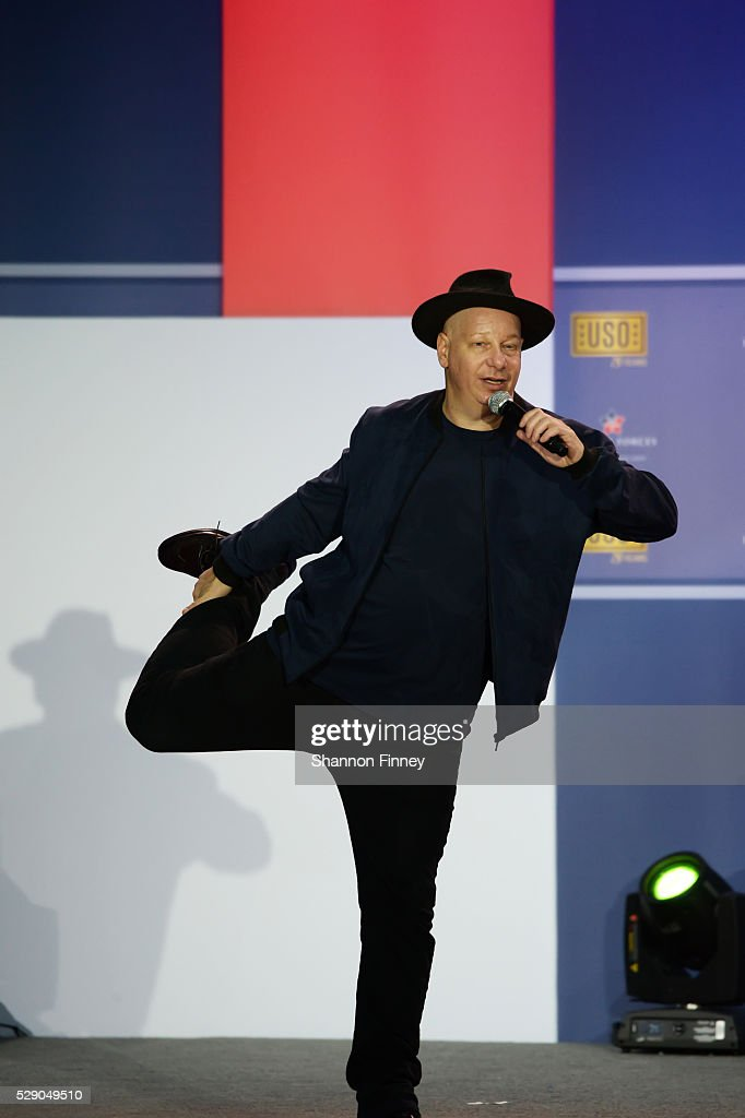 Comedian Jeff Ross performs at the 75th Anniversary USO Show on May 5 2016 at Joint Base Andrews in Camp Springs Maryland