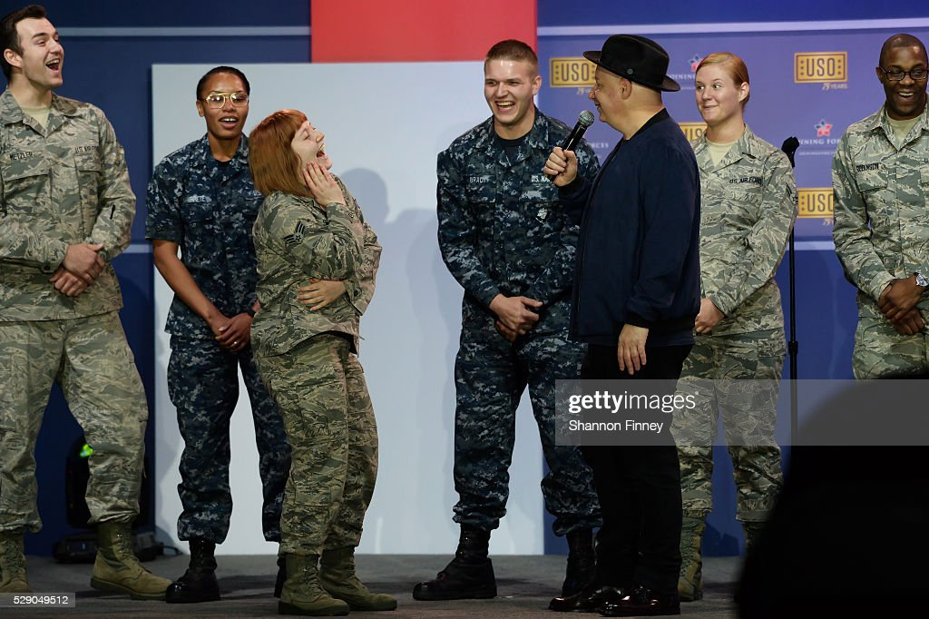 Comedian Jeff Ross performs his 1minute roasts with the troops at the 75th Anniversary USO Show on May 5 2016 at Joint Base Andrews in Camp Springs...