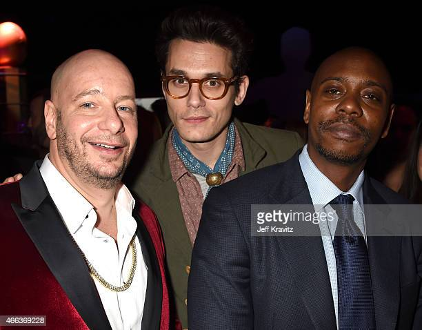 Comedian Jeffrey Ross recording artist John Mayer and comedian Dave Chappelle attend the after party for The Comedy Central Roast of Justin Bieber at...