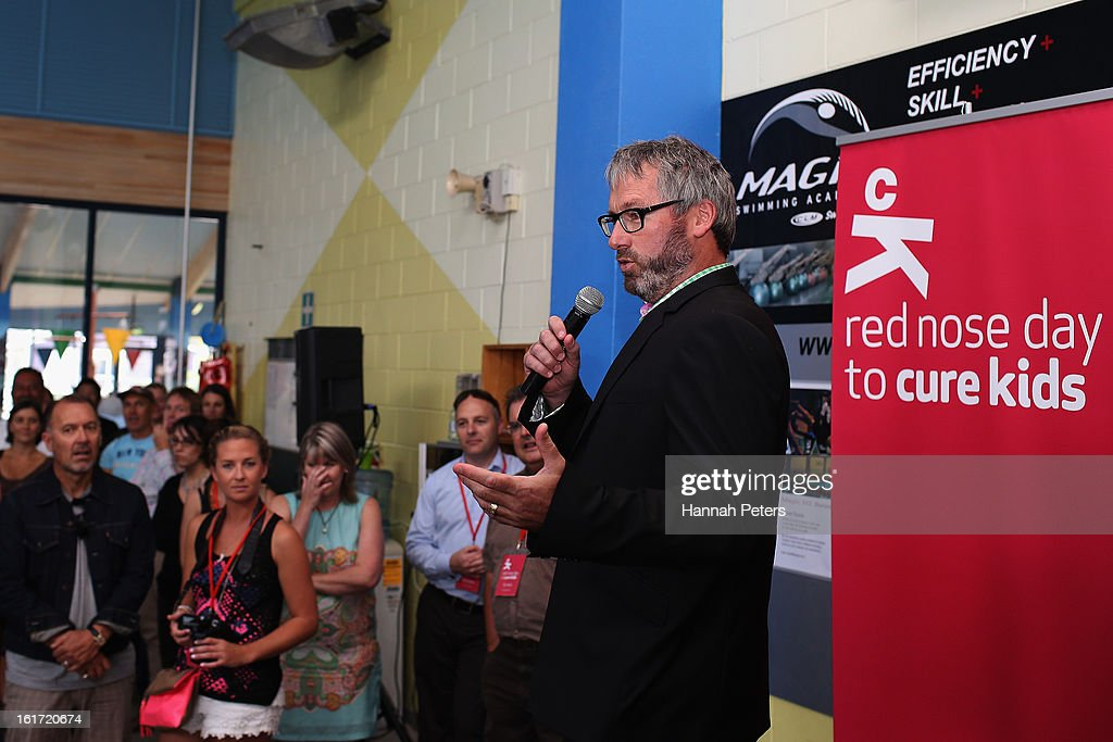 Comedian Jeremy Corbett speaks during the Cure Kids 2013 Red Nose Day Launch at Mt Albert on February 15, 2013 in Auckland, New Zealand.