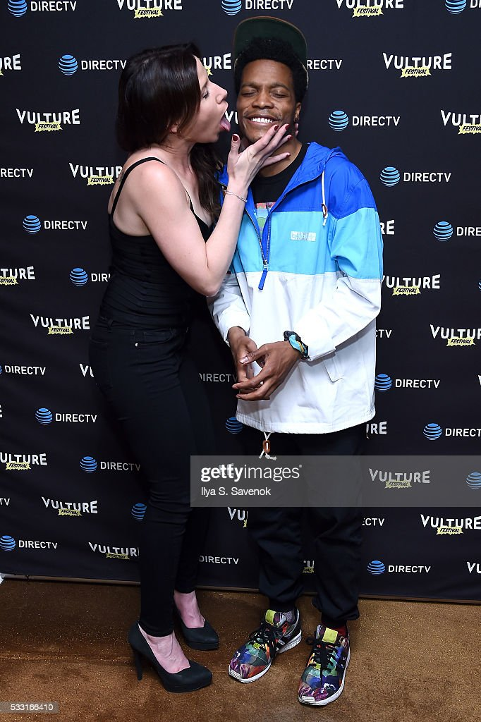 Comedian Jermaine Fowler and guest attend the Vulture Festival Opening Night Party sponsored by DirecTV at The Top of The Standard on May 20 2016 in...