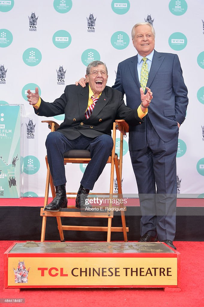 Comedian Jerry Lewis and actor Robert Osborne attend the Jerry Lewis Hand and Footprint Ceremony at TCL Chinese Theatre during the 2014 TCM Classic...