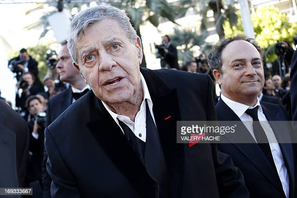 US comedian Jerry Lewis arrives on May 23 2013 with US actor Kevin Pollak for the screening of the film 'Max Rose' presented Out of Competition at...