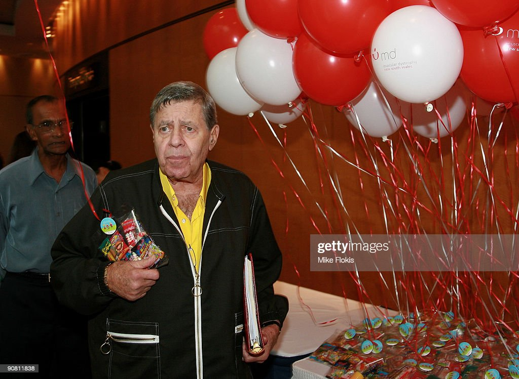 Comedian <a gi-track='captionPersonalityLinkClicked' href=/galleries/search?phrase=Jerry+Lewis+-+Comedian&family=editorial&specificpeople=202947 ng-click='$event.stopPropagation()'>Jerry Lewis</a> arrives to meet children and their families at a Muscular Dystrophy Family Day held at Star City on September 16, 2009 in Sydney, Australia. Lewis is in Australia to support the Muscular Dystrophy Foundation Australia (MDFA) in their fund raising and awareness efforts for the muscle wasting disease, including the 'Laugh For Life' event on Monday evening.