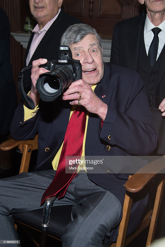 Comedian <a gi-track='captionPersonalityLinkClicked' href=/galleries/search?phrase=Jerry+Lewis+-+Comedian&family=editorial&specificpeople=202947 ng-click='$event.stopPropagation()'>Jerry Lewis</a> attends the 90th Birthday of <a gi-track='captionPersonalityLinkClicked' href=/galleries/search?phrase=Jerry+Lewis+-+Comedian&family=editorial&specificpeople=202947 ng-click='$event.stopPropagation()'>Jerry Lewis</a> at The Friars Club on April 8, 2016 in New York City.