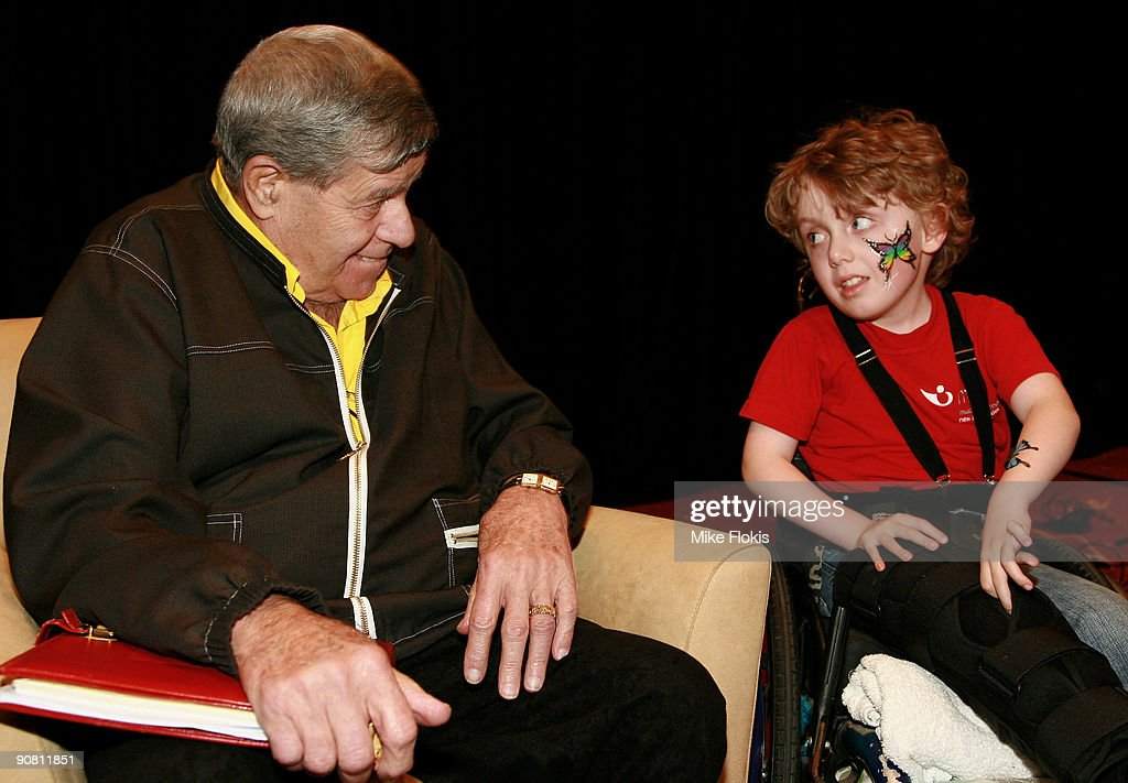Comedian <a gi-track='captionPersonalityLinkClicked' href=/galleries/search?phrase=Jerry+Lewis+-+Comedian&family=editorial&specificpeople=202947 ng-click='$event.stopPropagation()'>Jerry Lewis</a> meets children and their families at a Muscular Dystrophy Family Day held at Star City on September 16, 2009 in Sydney, Australia. Lewis is in Australia to support the Muscular Dystrophy Foundation Australia (MDFA) in their fund raising and awareness efforts for the muscle wasting disease, including the 'Laugh For Life' event on Monday evening.