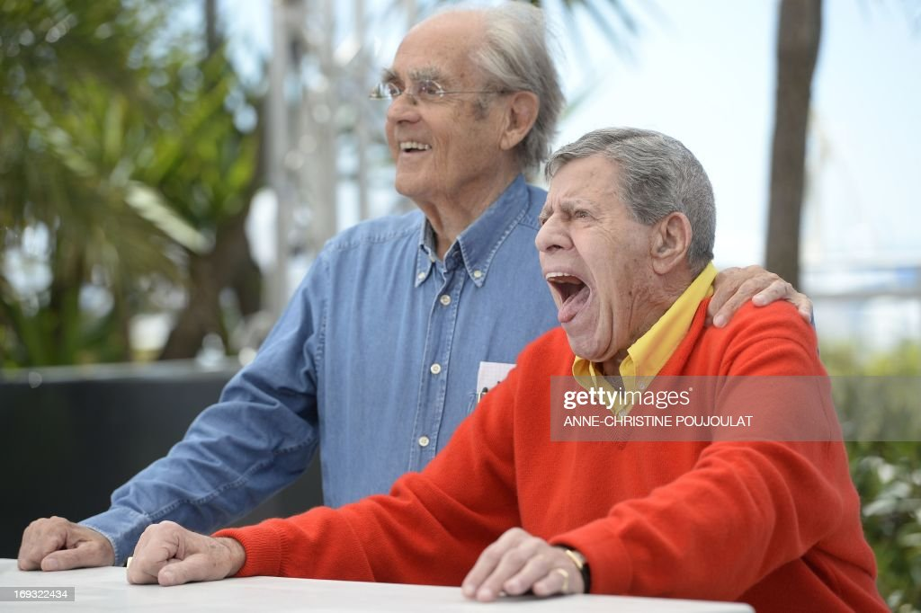 US comedian Jerry Lewis (R) poses on May 23, 2013 with French composer Michel Legrand during a photocall for the film 'Max Rose' presented Out of Competition at the 66th edition of the Cannes Film Festival in Cannes. Cannes, one of the world's top film festivals, opened on May 15 and will climax on May 26 with awards selected by a jury headed this year by Hollywood legend Steven Spielberg.