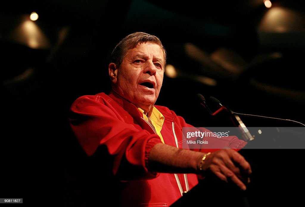 Comedian Jerry Lewis speaks to children and their families at a Muscular Dystrophy Family Day held at Star City on September 16, 2009 in Sydney, Australia. Lewis is in Australia to support the Muscular Dystrophy Foundation Australia (MDFA) in their fund raising and awareness efforts for the muscle wasting disease, including the 'Laugh For Life' event on Monday evening.