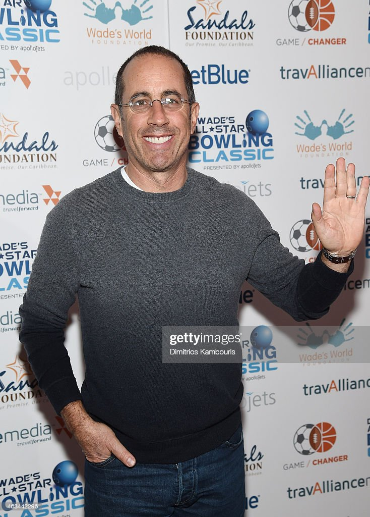 Comedian <a gi-track='captionPersonalityLinkClicked' href=/galleries/search?phrase=Jerry+Seinfeld&family=editorial&specificpeople=210541 ng-click='$event.stopPropagation()'>Jerry Seinfeld</a> attends Dwyane Wade's All-Star Bowling Classic hosted by the Sandals Foundation on February 14, 2015 in New York City.