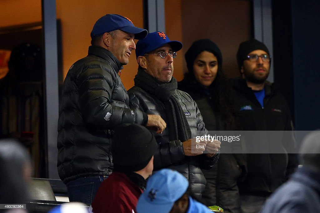 Comedian Jerry Seinfeld attends game two of the 2015 MLB National League Championship Series between the Chicago Cubs and the New York Mets at Citi...
