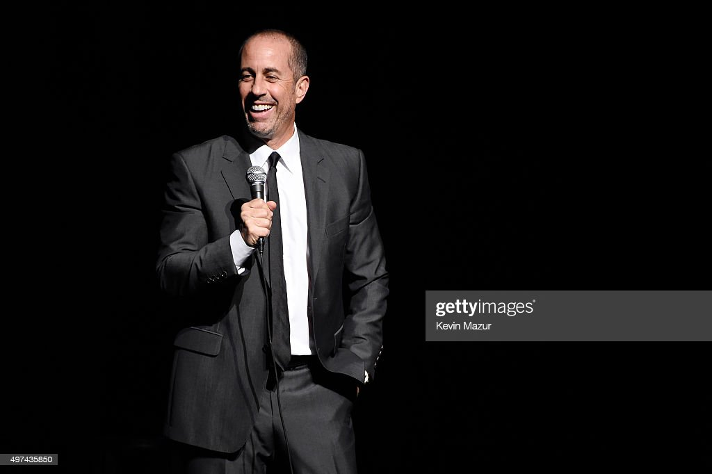 Comedian <a gi-track='captionPersonalityLinkClicked' href=/galleries/search?phrase=Jerry+Seinfeld&family=editorial&specificpeople=210541 ng-click='$event.stopPropagation()'>Jerry Seinfeld</a> performs onstage as Baby Buggy celebrates 15 years with 'An Evening with <a gi-track='captionPersonalityLinkClicked' href=/galleries/search?phrase=Jerry+Seinfeld&family=editorial&specificpeople=210541 ng-click='$event.stopPropagation()'>Jerry Seinfeld</a> and Amy Schumer' presented by Bank of America - Inside at Beacon Theatre on November 16, 2015 in New York City.