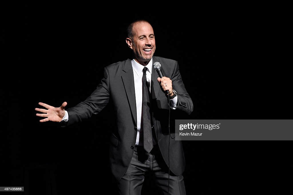 Comedian Jerry Seinfeld performs onstage as Baby Buggy celebrates 15 years with 'An Evening with Jerry Seinfeld and Amy Schumer' presented by Bank of America - Inside at Beacon Theatre on November 16, 2015 in New York City.