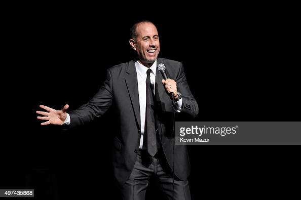 Comedian Jerry Seinfeld performs onstage as Baby Buggy celebrates 15 years with 'An Evening with Jerry Seinfeld and Amy Schumer' presented by Bank of...