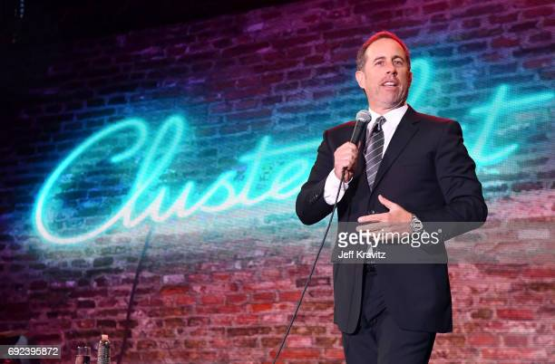 Comedian Jerry Seinfeld performs onstage at the Colossal Stage during Colossal Clusterfest at Civic Center Plaza and The Bill Graham Civic Auditorium...