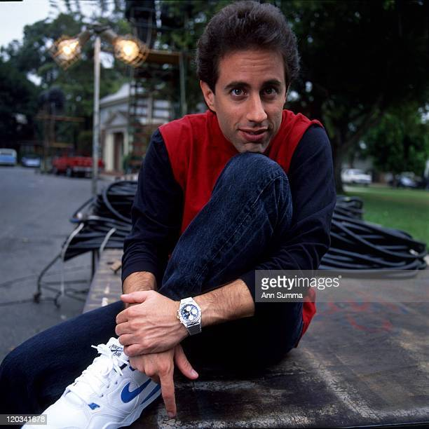Comedian Jerry Seinfeld poses for a portrait session at the MTM Studios during the 'Seinfeld' filming days on October 2 1990 in Los Angeles California