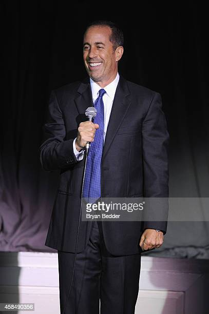 Comedian Jerry Seinfeld speaks onstage at NRDC's 'Night Of Comedy' benefiting the Natural Resources Defense Council at 583 Park Ave on November 5...