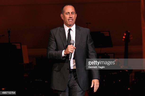 Comedian Jerry Seinfeld speaks onstage during the Change Begins Within A David Lynch Foundation Benefit Concert on November 4 2015 in New York City