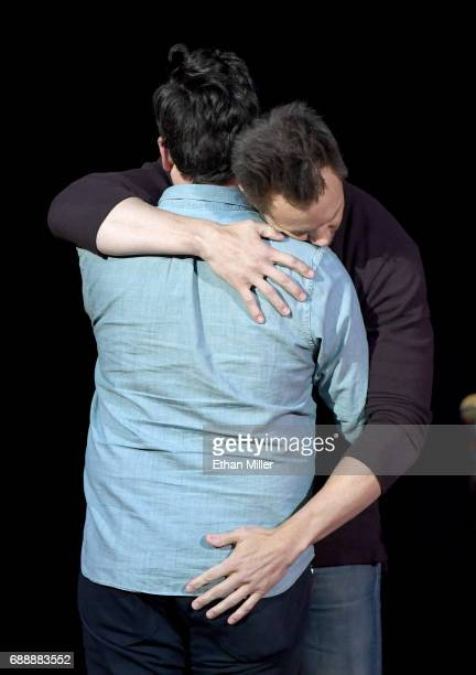 Comedian JF Harris and comedian/actor Joel McHale joke around as Harris introduces McHale at the Treasure Island Hotel Casino on May 26 2017 in Las...