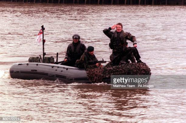 Comedian Jim Davidson dressed as a Royal Marine arrives on a motorboat at St Katherine's dock to help launch the British Forces Foundation The...