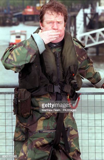 Comedian Jim Davidson dressed as a Royal Marine at St Katherine's dock after he arrived on a motorboat to help launch of the British Forces...