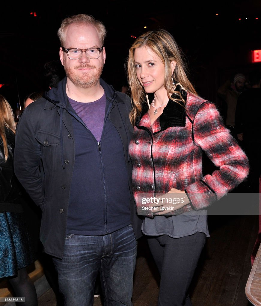 Comedian <a gi-track='captionPersonalityLinkClicked' href=/galleries/search?phrase=Jim+Gaffigan&family=editorial&specificpeople=2083899 ng-click='$event.stopPropagation()'>Jim Gaffigan</a> and actress <a gi-track='captionPersonalityLinkClicked' href=/galleries/search?phrase=Mira+Sorvino&family=editorial&specificpeople=203143 ng-click='$event.stopPropagation()'>Mira Sorvino</a> attend the after party for The Cinema Society with Roger Dubuis and Grey Goose screening of FilmDistrict's 'Olympus Has Fallen' at The Darby on March 11, 2013 in New York City.