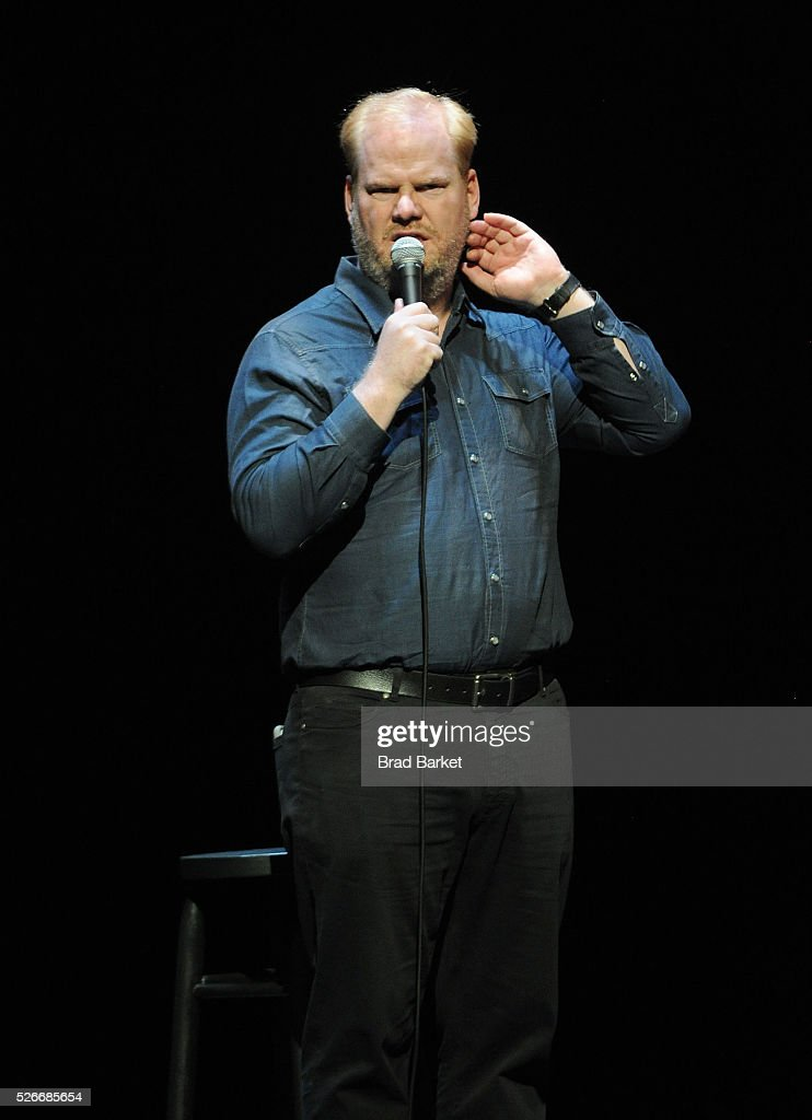 Comedian <a gi-track='captionPersonalityLinkClicked' href=/galleries/search?phrase=Jim+Gaffigan&family=editorial&specificpeople=2083899 ng-click='$event.stopPropagation()'>Jim Gaffigan</a> performs on stage at An Amazing Night Of Comedy: A David Lynch Foundation Benefit For Veterans With PTSD at New York City Center on April 30, 2016 in New York City.