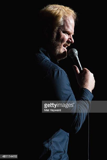 Comedian Jim Gaffigan performs on stage during the 'Contagious' tour at McCaw Hill on July 16 2015 in Seattle Washington