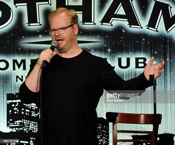 Comedian Jim Gaffigan performs onstage during the 8th Annual Laugh For Sight AllStar Comedy Benefit at Gotham Comedy Club on October 28 2013 in New...