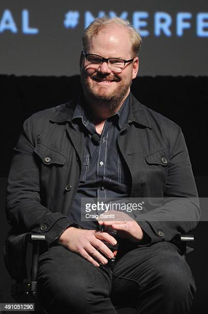 Comedian Jim Gaffigan speaks onstage at the 'New Yorker Festival 2015 Jim Gaffigan talks with Andy Borowitz' at SVA Theater on October 2 2015 in New...