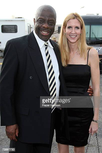 Comedian Jimmie Walker and political pundit Ann Coulter backstage at the 5th Annual TV Land Awards held at Barker Hangar on April 14 2007 in Santa...