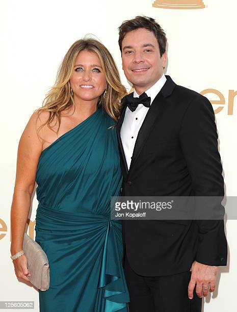 Comedian Jimmy Fallon and Nancy Juvonen arrive at the 63rd Primetime Emmy Awards held at Nokia Theatre LA Live on September 18 2011 in Los Angeles...