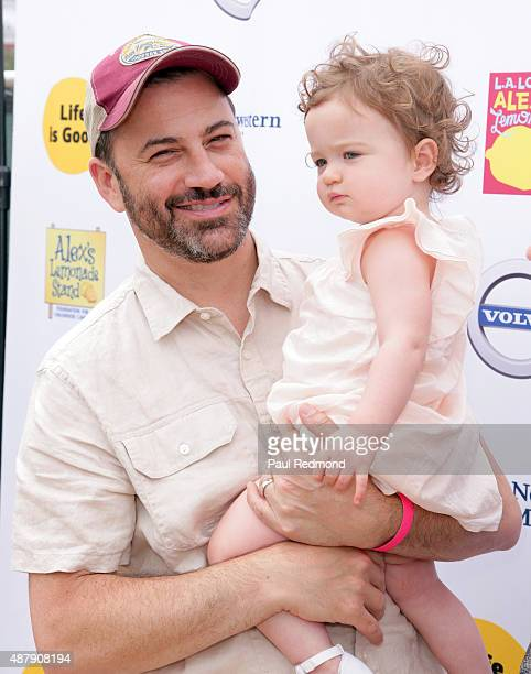 Comedian Jimmy Kimmel and his daughter Jane Kimmel attend the 6th Annual LA Loves Alex's Lemonade at UCLA on September 12 2015 in Los Angeles...