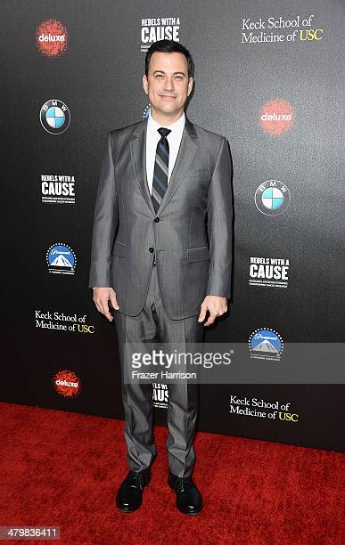Comedian Jimmy Kimmel arrives at the 2nd Annual Rebels With A Cause Gala at Paramount Studios on March 20 2014 in Hollywood California
