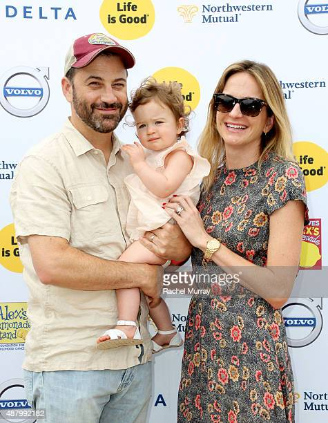 Comedian Jimmy Kimmel daughter Jane Kimmel and wife Molly McNearney attend LA Loves Alex's Lemonade on September 12 2015 in Los Angeles California