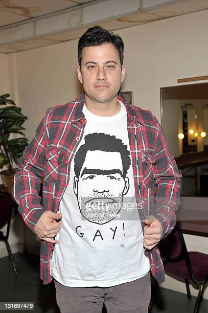 Comedian Jimmy Kimmel helps Adam Carolla celebrate the release of his ...