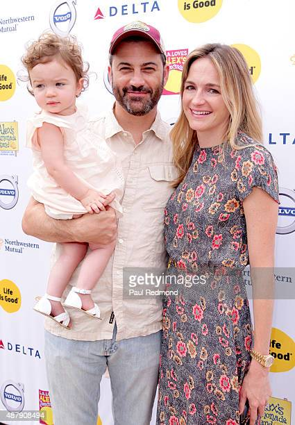 Comedian Jimmy Kimmel with daughter Jane Kimmel and wife Molly McNearney attend the 6th Annual LA Loves Alex's Lemonade at UCLA on September 12 2015...