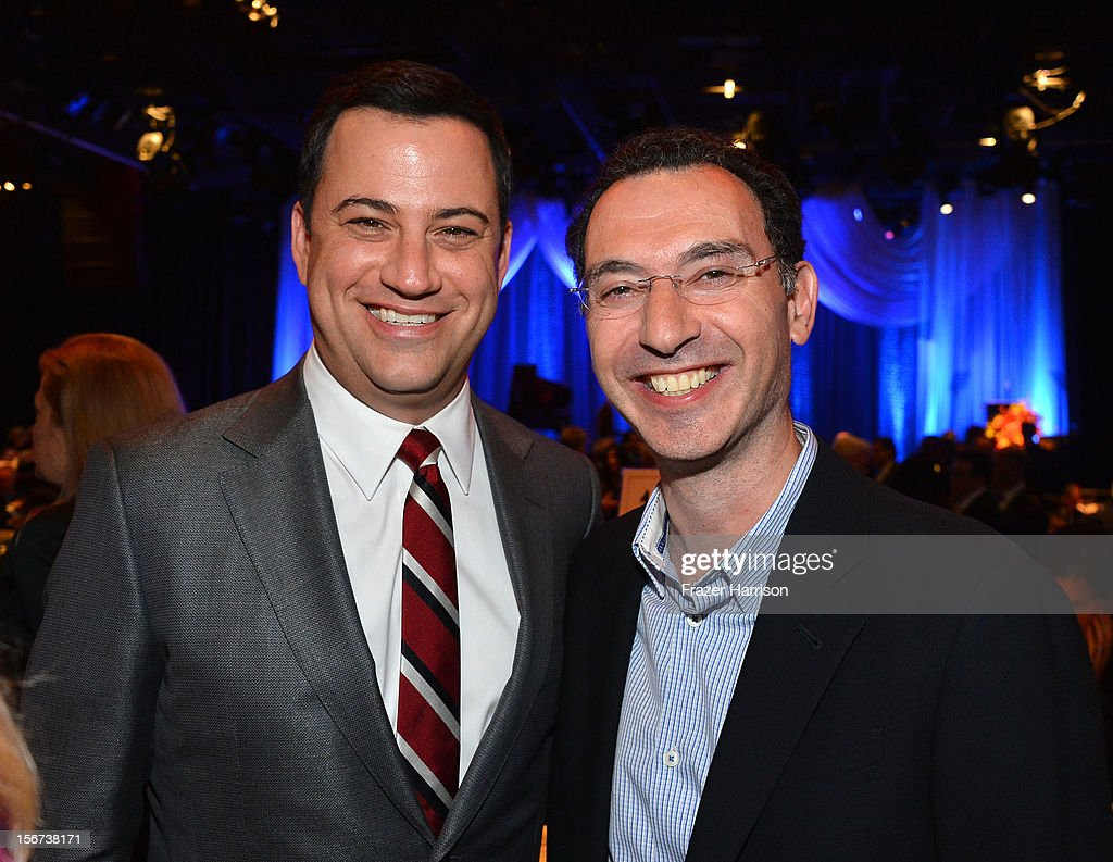 comedian <a gi-track='captionPersonalityLinkClicked' href=/galleries/search?phrase=Jimmy+Kimmel&family=editorial&specificpeople=214115 ng-click='$event.stopPropagation()'>Jimmy Kimmel</a>l and ABC Entertainment Group President Paul Lee, attend The Saban Free Clinic's Gala Honoring ABC Entertainment Group President Paul Lee And Bob Broder at The Beverly Hilton Hotel on November 19, 2012 in Beverly Hills, California.