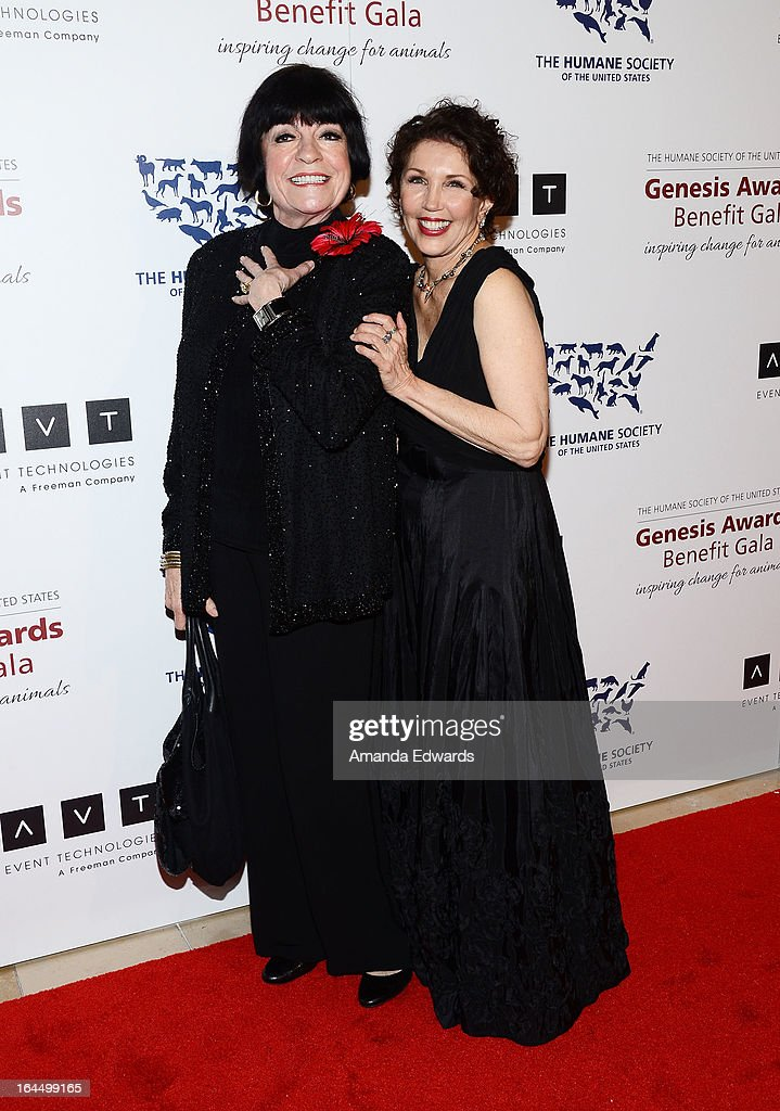 Comedian <a gi-track='captionPersonalityLinkClicked' href=/galleries/search?phrase=Jo+Anne+Worley&family=editorial&specificpeople=229011 ng-click='$event.stopPropagation()'>Jo Anne Worley</a> (L) and Beverly Kaskey arrive at The Humane Society's 2013 Genesis Awards Benefit Gala at The Beverly Hilton Hotel on March 23, 2013 in Beverly Hills, California.