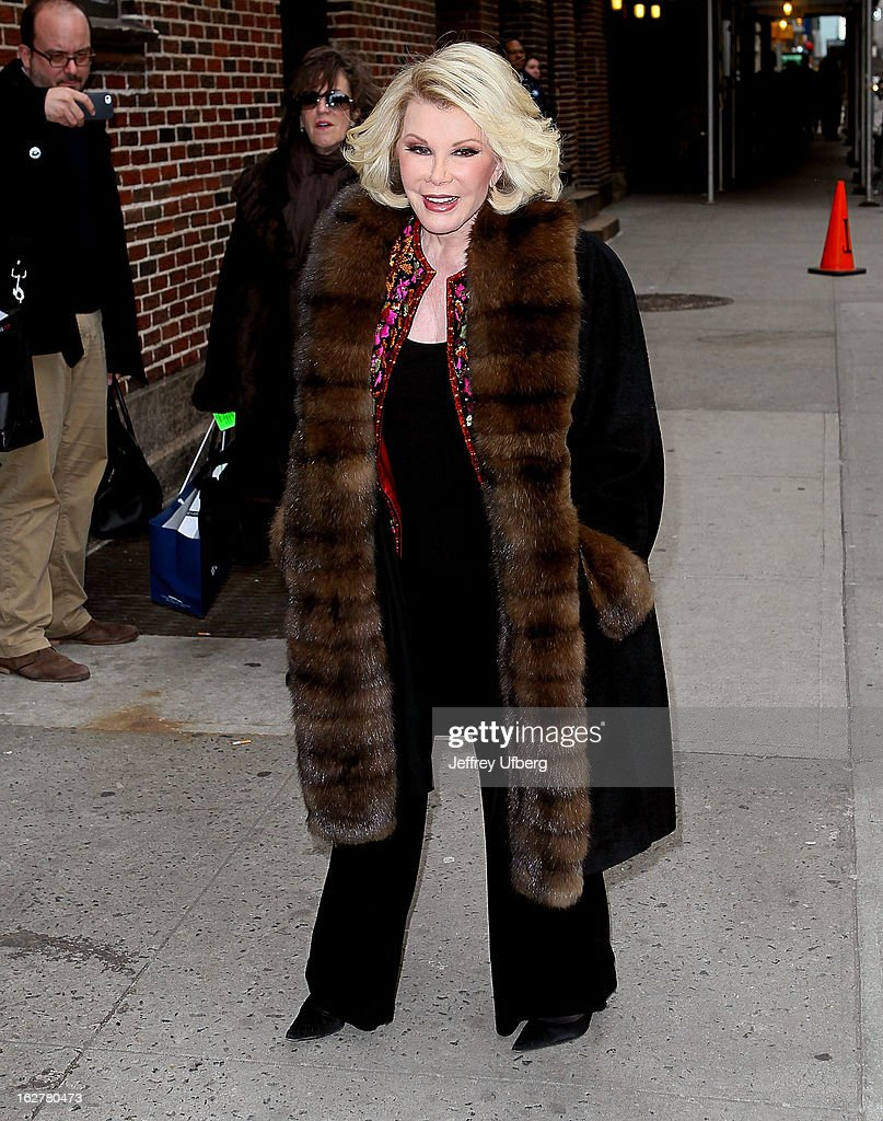 Comedian <a gi-track='captionPersonalityLinkClicked' href=/galleries/search?phrase=Joan+Rivers&family=editorial&specificpeople=159403 ng-click='$event.stopPropagation()'>Joan Rivers</a> arrives to 'Late Show with David Letterman' at Ed Sullivan Theater on February 26, 2013 in New York City.