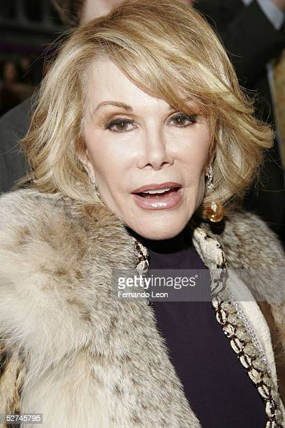 Comedian Joan Rivers arrives to the opening night of 'Glengarry Glen Ross' at the Royale Theater May 1 2005 in New York City