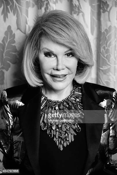 Comedian Joan Rivers is photographed at the Plaza Atheneeon August 15 2014 in New York City where she officiated the gay wedding of Joseph Aiello and...