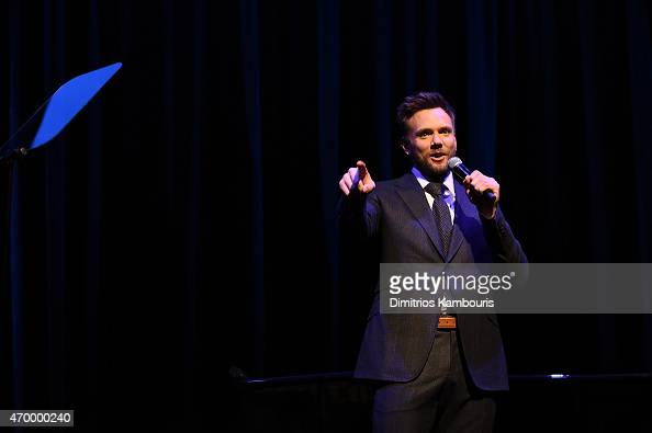 Comedian Joel McHale performs on stage at the IWC Schaffhausen Third Annual 'For the Love of Cinema' Gala during the Tribeca Film Festival on April...
