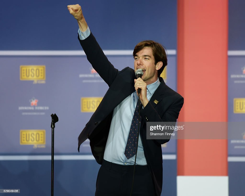 Comedian John Mulaney performs at the 75th Anniversary USO Show on May 5 2016 at Joint Base Andrews in Camp Springs Maryland