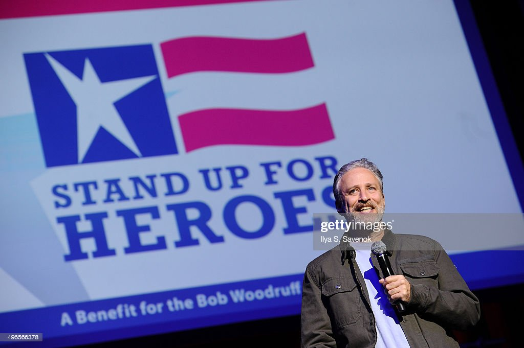 Comedian Jon Stewart performs on stage at the New York Comedy Festival and the Bob Woodruff Foundation's 9th Annual Stand Up For Heroes Event on November 10, 2015 in New York City.