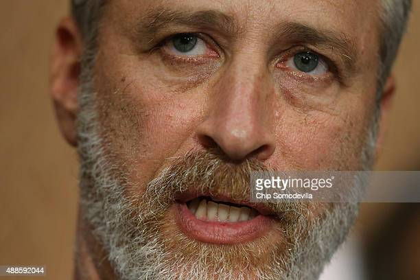 Comedian Jon Stewart speaks during a news conference with members of Congress and ill firstresponders to demand an extension of the Zadroga 9/11...