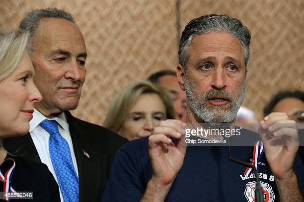 Comedian Jon Stewart speaks during a news conference with Sen Kirsten Gillibrand Sen Chuck Schumer and other members of Congress to demand an...