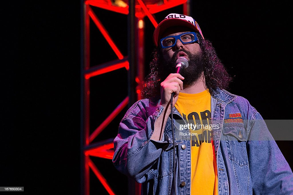 Comedian <a gi-track='captionPersonalityLinkClicked' href=/galleries/search?phrase=Judah+Friedlander&family=editorial&specificpeople=666026 ng-click='$event.stopPropagation()'>Judah Friedlander</a> performs on stage during the Moontower Comedy Festival at the Paramount Theatre on April 26, 2013 in Austin, Texas.